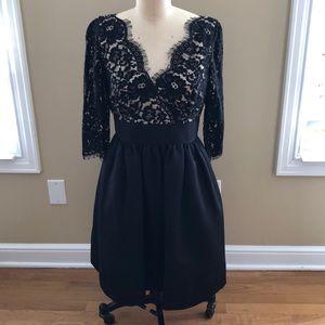 Black lace v neck dress - worn once!